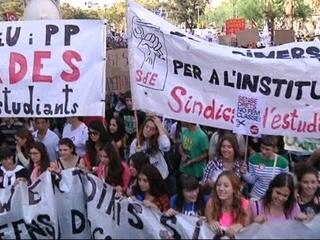 Els estudiants es manifesten a Barcelona.