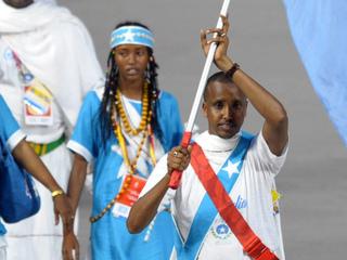 Somia Yusuf Omar a la cerimònia d'inauguració dels Jocs de Pequín. (Foto: Reuters)