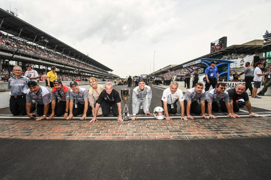 Even the Freedom 100 Winner take part in the Kissing of the Brick Tradition at Indianapolis Motor Speedway