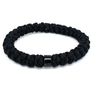 Black Prayer Rope Bracelet with Bead-0