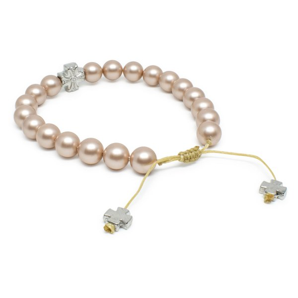 Wonderful Handmade Cappuccino Swarovski Pearl Prayer Bracelet