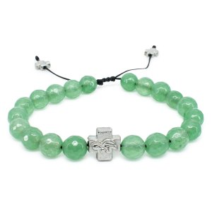 Facetted Green Jadeite Stone Orthodox Bracelet-0