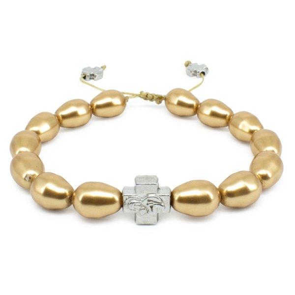 Gold Swarovski Teardrop Pearl Orthodox Bracelet-0