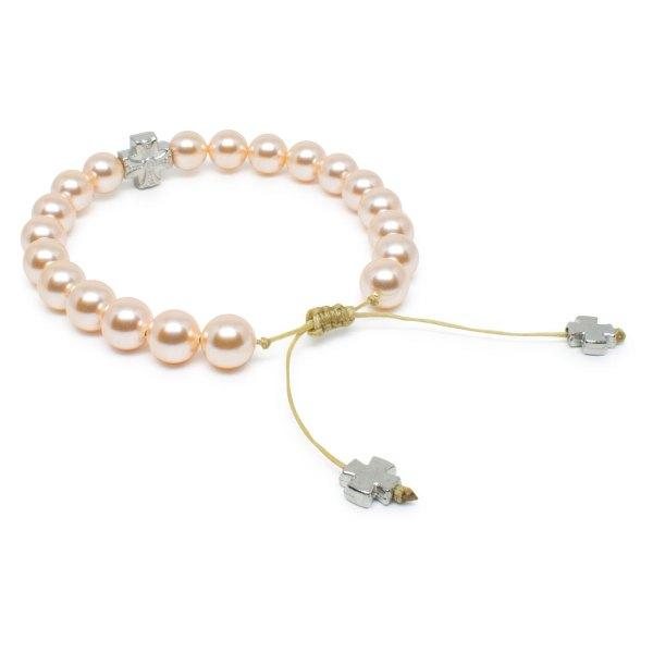 Delicate Peach Swarovski Pearl Prayer Bracelet