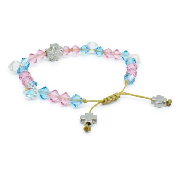 """Striking blue, pink and white Swarovski Crystal Orthodox Bracelet """"Lara"""""""