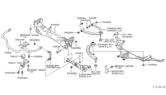 nissan 350z front suspension member And link 401a001