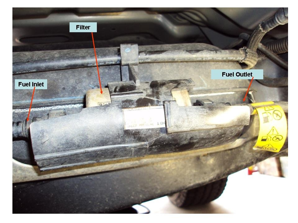 2007 gmc fuel filter location