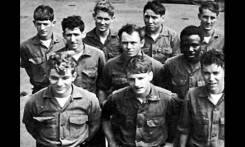 Crew Chiefs Bill Schrader and John Barber. In the front row, first from the left is Corporal William Schrader. Bill had completed his final flight test for becoming a crew chief on the day of the accident. John Barber is in the second row, second from the left.