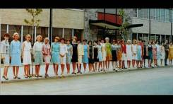The first class of ONA stewardesses. Steedman's future wife, Ingrid, is second from the left.