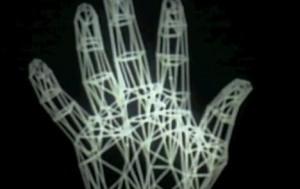 asemeni unei sculpturi de sarma, tehnica wire-frame creaza conturul unui obiect 3D