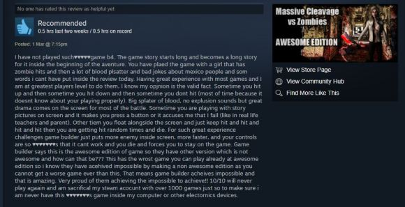 massive cleavage vs zombies review
