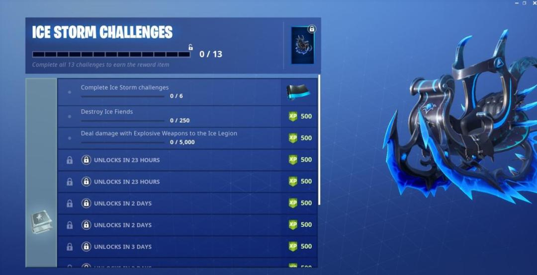 Fortnite Ice Storm Challenges (Day 1): Destroy Ice Fiends, Damage Ice Legion 1