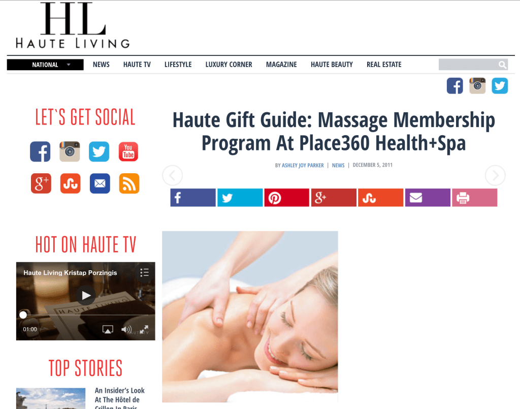 Place360 Health+Spa featured in Haute Living