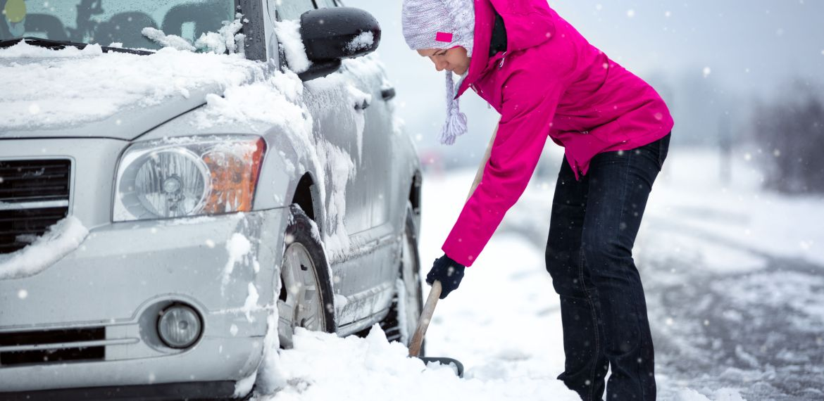 what to do when car gets stuck in snow