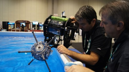 The 360Abyss being prepped for a test shoot mounted on a SeaBotix miniROV.