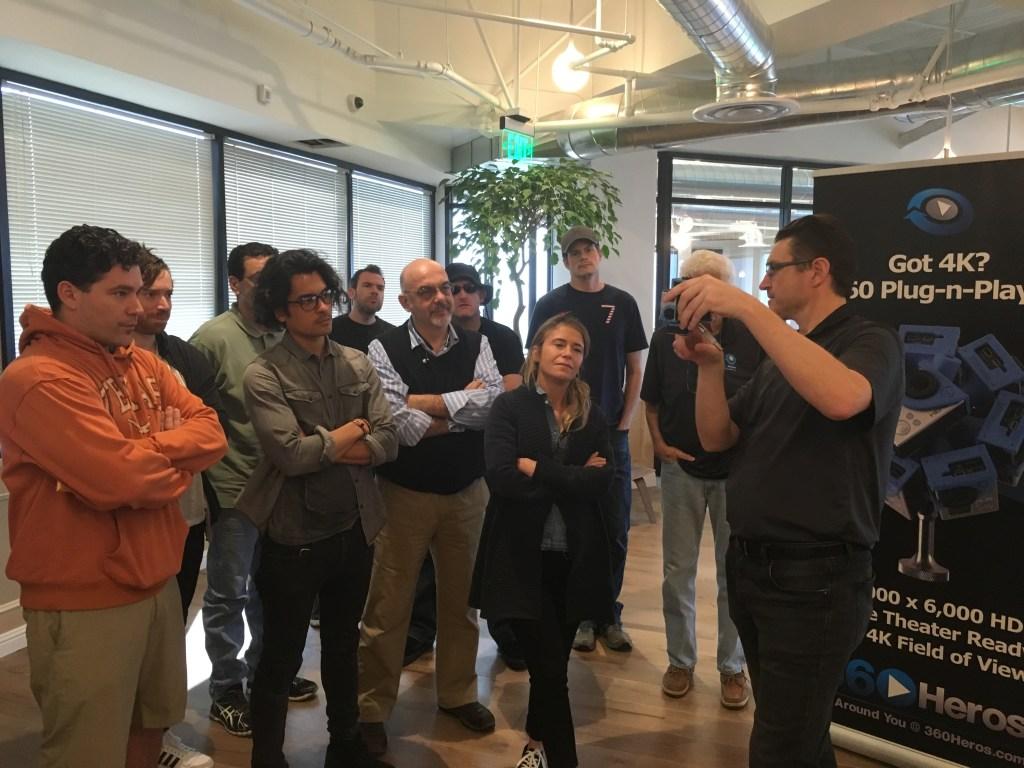 360Heros' Matt Sheils demonstrates camera mounting positions to class attendees.