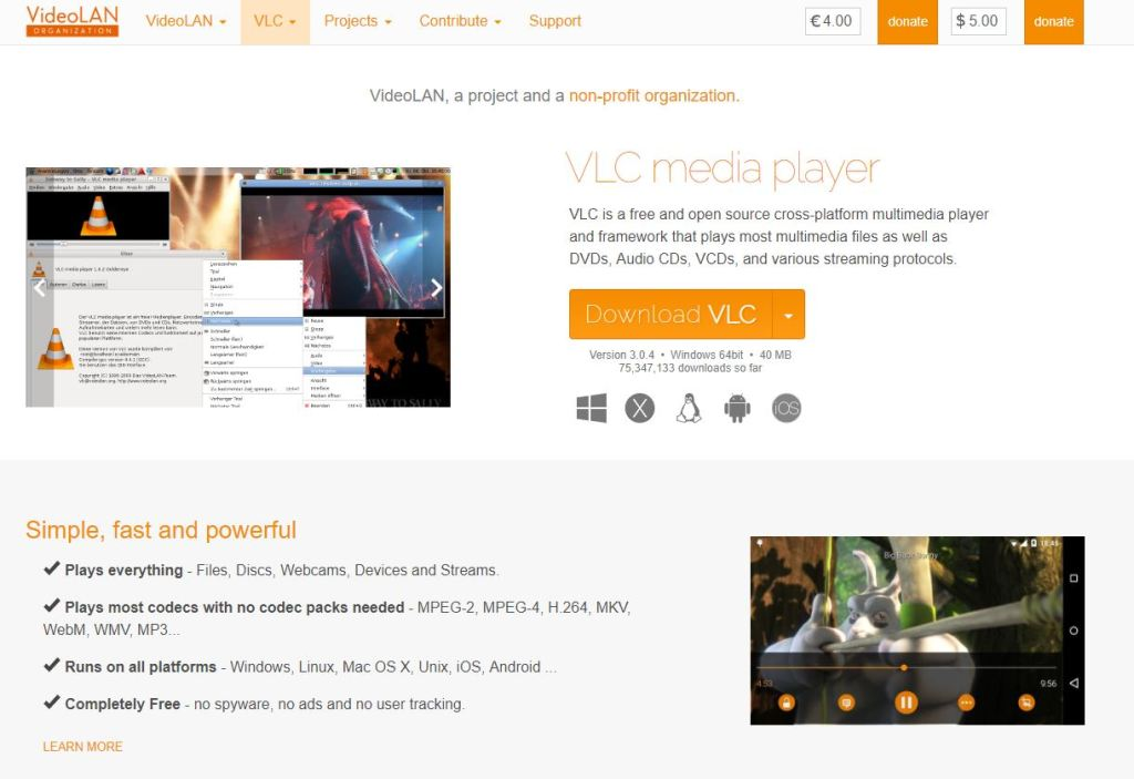 360Rize 360Penguin VLC Page Screen