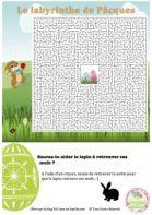 le labyrinthe de Pâques, jeu à imprimer, jeu gratuit, jeu du printemps