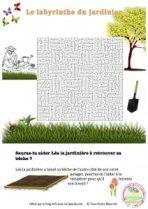 le labyrinthe du jardinier, jeu à imprimer, jeu gratuit, jeu du printemps