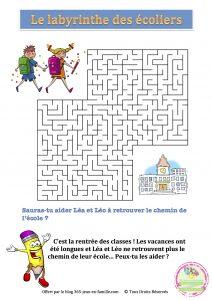 Jeu gratuit - le labyrinthe des écoliers