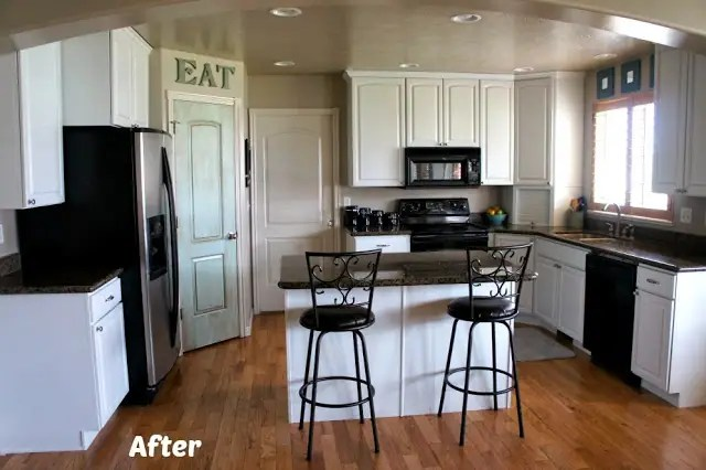 repaint kitchen cabinets table with corner bench and chairs white painted cabinet reveal before after photos i just love these that were by www utahpaintpro com