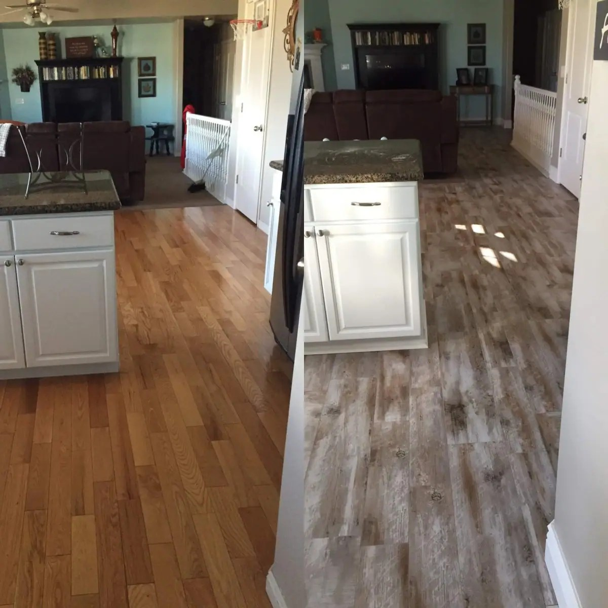 kitchen wood tile floor replacement drawer box flooring before and after reveal looking 365