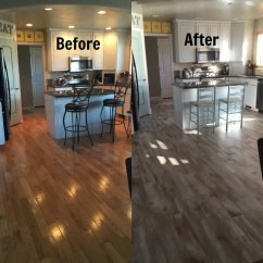 Wood Tile Floor Kitchen Second Hand Cabinets Flooring Before And After Reveal Looking 365 Days Of From Oak To In The It Doesn T