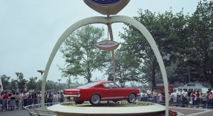 The 1965 Ford Mustang fastback on display outside the Ford Pavilion at the New York World's Fair during its debut on April 17, 1964.