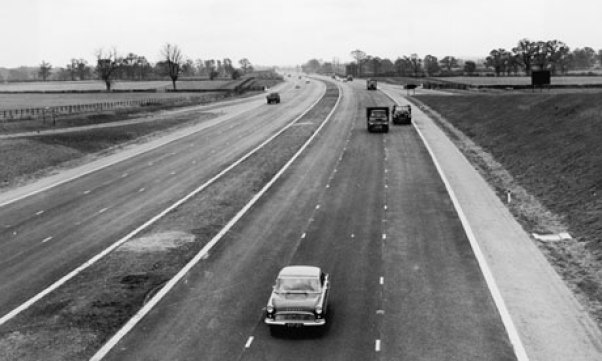 The first sections of the M1 were opened as the London to Birmingham motorway. The stretch was the 72 miles from St Albans to Birmingham, The St Alband to Hemel Hampstead section was later bypassed when the M1 was extended south, becoming the M10.