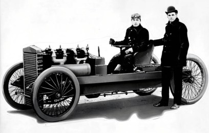 Henry Ford and driver Barney Oldfield posing with the legendary 999 race car.