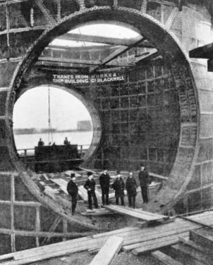 A framing section of the Blackwall Tunnel being constructed at the Thames Ironworks around 1895