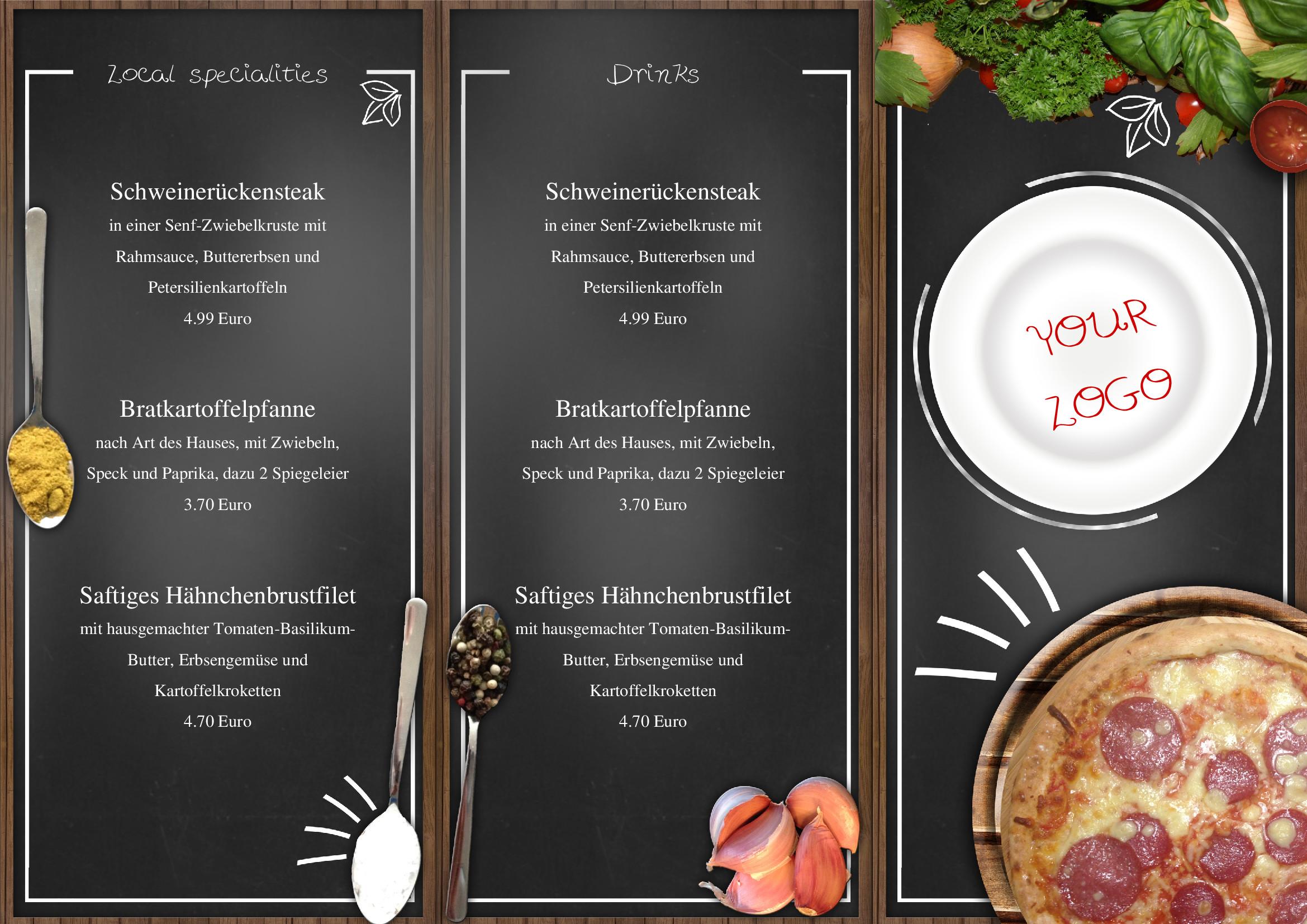 Speisekarten und Menkarten italienische Speisekarte