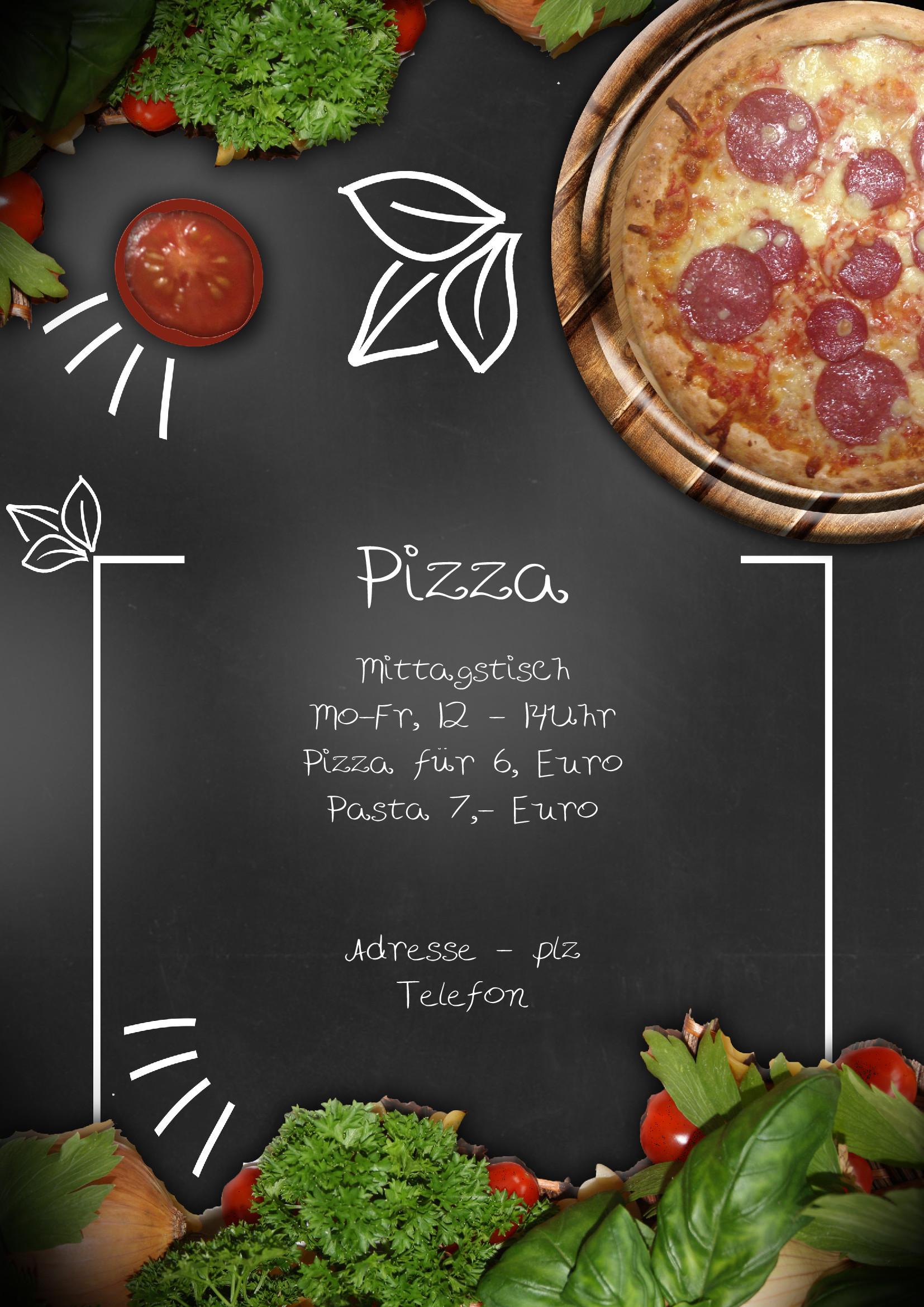 Speisekarten und Menkarten Italian Flavor Pizza Shop