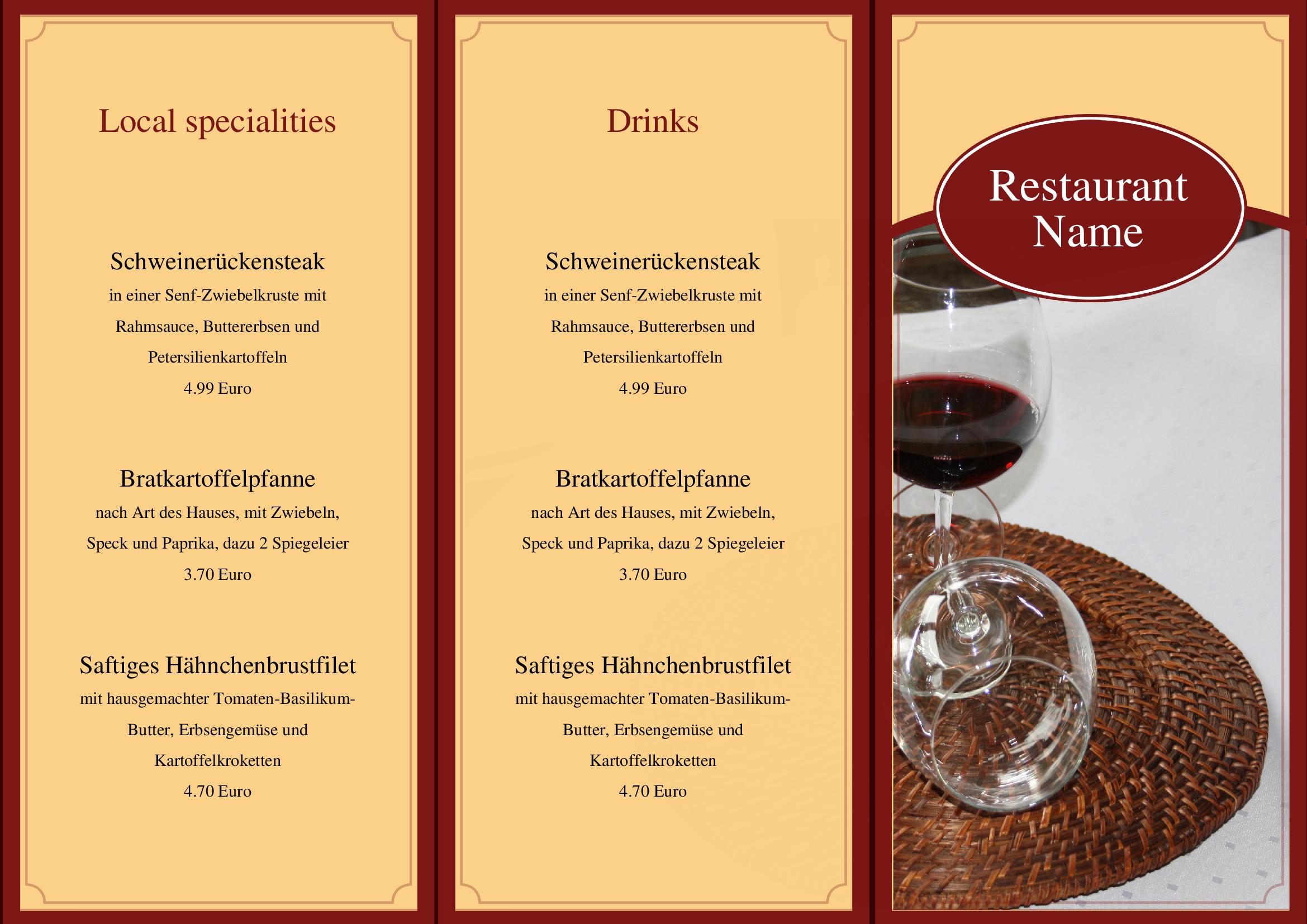 Speisekarten und Menkarten Food and Drinks Menu Template