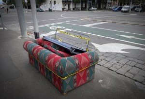 A dumped couch on the street