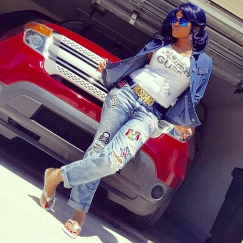 Sexy Actress Iyabo Ojo Rocks Denim On Denim Outfit With Violet Color Hairstyle (Photos)