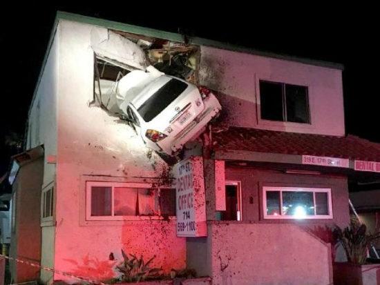 weird car crashes into