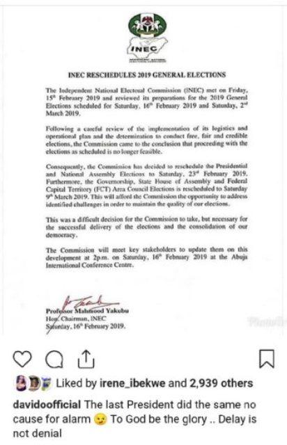 """Delay Is Not Denial"" – Davido Speaks On Postponement Of Presidential Election"