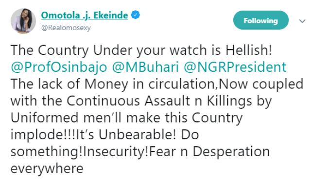 Omotola Jalade-Ekeinde calls out President Buhari and VP Osinbajo