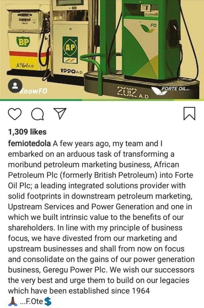 Femi Otedola is no longer with Forte Oil