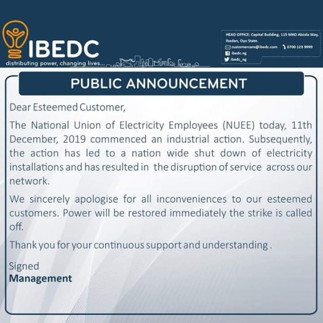 Rumours of Nationwide Blackout as Electricity Workers Begin Nationwide Strike 2