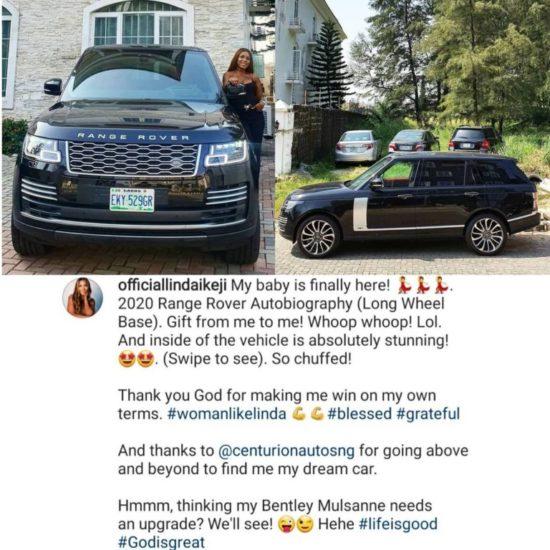 Linda Ikeji shows off her 2020 Range Rover Autobiography 6