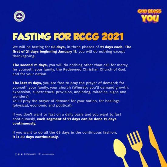 Pastor Adeboye Announces 63-Day Fast 2