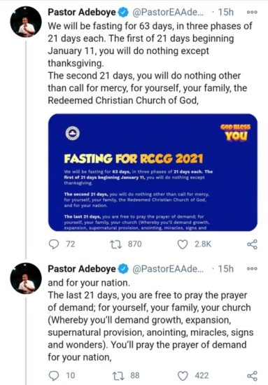 Pastor Adeboye Announces 63-Day Fast 1