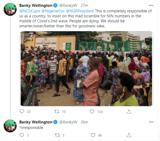 COVID-19: Banky W condemns Nigerian Government for forcing citizens to queue up for NIN numbers 1