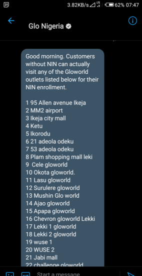 Glo Begins NIN Registration At Its Retail Centres; See List Of Locations 2