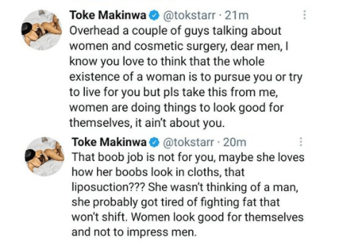 """""""Women are doing Cosmetic surgery to look good for themselves. It ain't about you""""- Toke Makinwa tells men 2"""