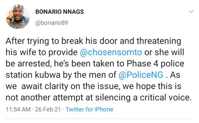 Top Buhari critic, Somto Onuchukwu 'Chosen Somto' reportedly arrested by the police 3