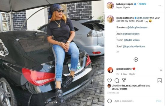 Iyabo Ojo eyes her daughter's Mercedes, says the car fits her 2