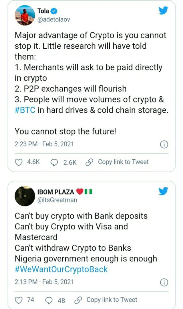 See How Everyone is Reacting to CBN's Ban on Cryptocurrency Exchange in Nigeria 14